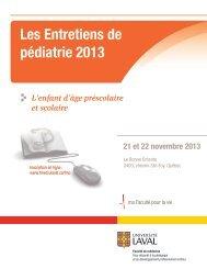 Les Entretiens de pédiatrie 2013 - Développement professionnel ...