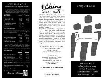 Menu - I Ching Asian Cafe