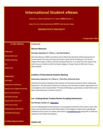 International Student eNews - Arizona State University
