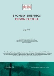 Bromley Briefings: Prison Factfile July 2010 - Prison Reform Trust