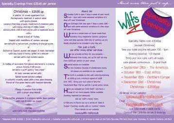 Leaflet here - Wilf's Cafe