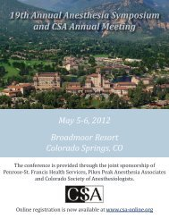 19th Annual Anesthesia Symposium and CSA Annual Meeting