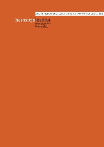 Wie lernen Führungskräfte? - Hernstein Institut für Management und ...
