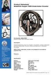 Product Datasheet: Bladefish-Seajet-7000-Underwater-Scooter