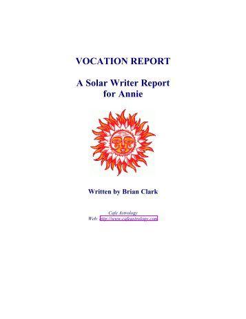 Solar Writer - Vocation Report - Cafe Astrology