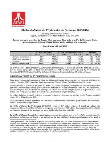 Chiffre d'affaires du 1er trimestre de l'exercice 2013/2014 - Atari
