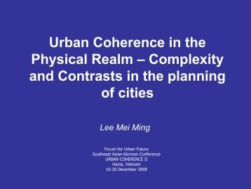 Urban Coherence in the Physical Realm – Complexity and Contrasts ...