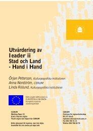 Utvärdering av leader ii Stad och Land - Hand i Hand - DiVA