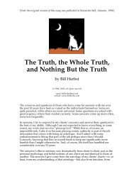 The Truth, the Whole Truth, and Nothing But the Truth - Bill Herbst ...