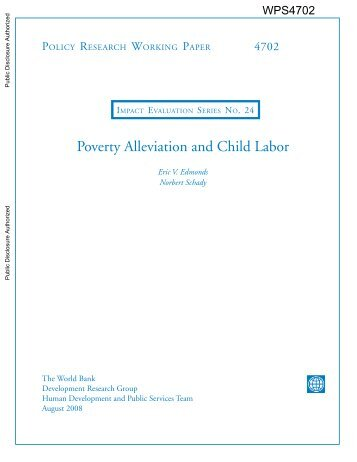 Poverty Alleviation and Child Labor