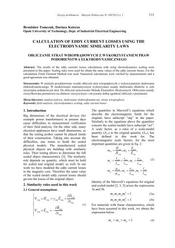 calculation of eddy current losses using the electrodynamic ... - Komel
