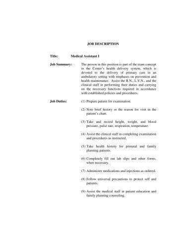 job description medical assistant