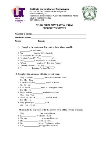 study guide first partial exam english 1 semester - Instituto ...