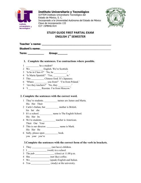 study guide first partial exam english 1 semester - Instituto