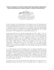 filing of evidence on appeal in trade-mark proceedings originating ...