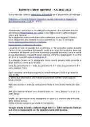 Esame di Sistemi Operativi – A.A.2011-2012