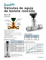 Válvulas de Aguja de Bonete Roscado: Serie JN (MS-01 ... - Swagelok