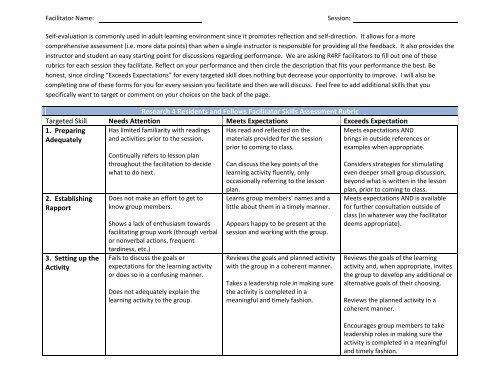 Facilitator Skills Assessment Rubric Assessing development of computational practices. facilitator skills assessment rubric