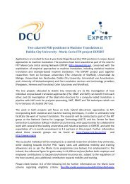 Two salaried PhD positions in Machine Translation at Dublin ... - DCU