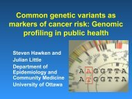 Common genetic variants as markers of cancer risk: Genomic ...