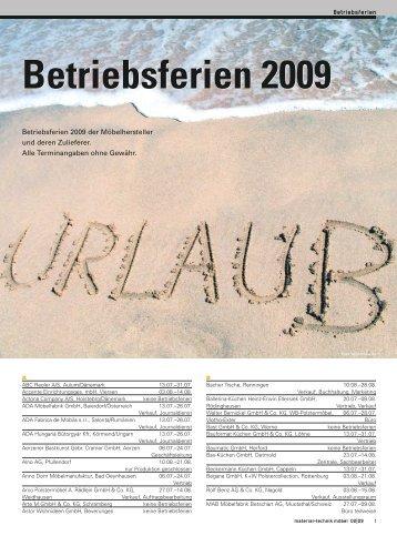 Betriebsferien 2009 Betriebsferien 2009