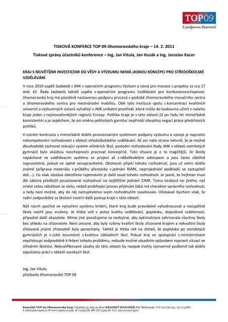 Tiskové zprávy - 14.2.2011.pdf - TOP 09
