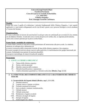 Programma di Chimica Organica - Università degli Studi di Bari