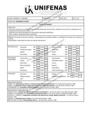 1 ANO: 2012 C/H: 100 DISCIPLINA: BIOQUIMICA CLINICA PLANO ...
