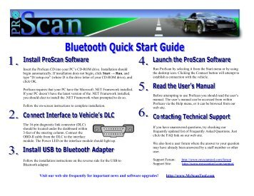 Quick Start Guide : ProScan Scan Tool with Bluetooth Interface