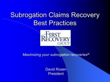 Subrogation Claims Recovery - Medicaid Health Plans of America