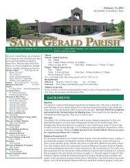 Weekly Bulletin - February 12, 2012 - Saint Gerald Catholic Church