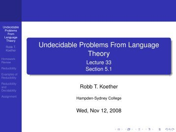 Undecidable Problems From Language Theory - Hampden-Sydney ...