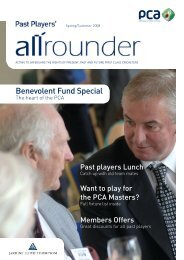 April 2008 - The Professional Cricketers' Association