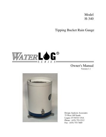 Tipping Bucket Rain Gauge Model H-340 Owner's Manual - WaterLOG