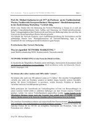 Prof. Dr. Michael Zacharias über Network Marketing
