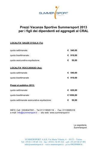 Prezzi Vacanze Sportive Summersport 2013 per i figli dei dipendenti ...