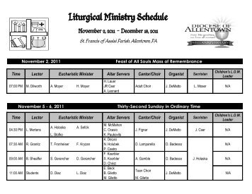 Liturgical Ministers Schedule OT-Advent 2011 - St. Francis of Assisi ...