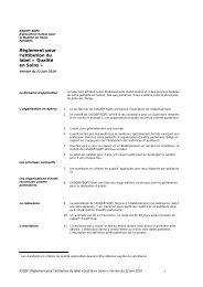 Règlement pour l'attibution du label « Qualité en Soins » - Palliative ch