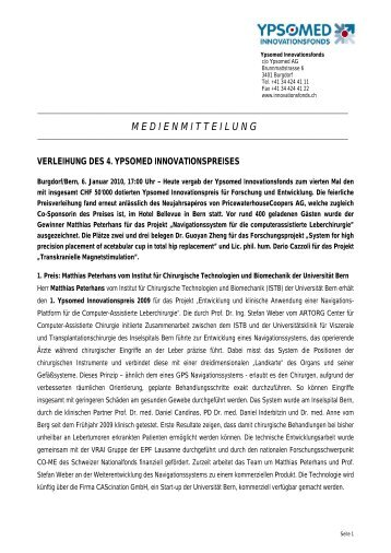 medienmitteilung - Ypsomed Innovationsfonds