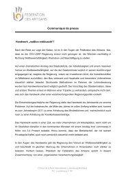 Communiqué de presse - Fédération des Artisans