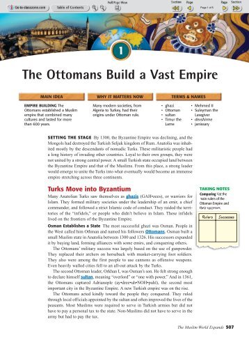 The Ottomans Build A Vast Empire Chapter  Section