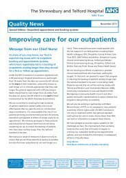 Improving care for our outpatients - Royal Shrewsbury Hospitals ...