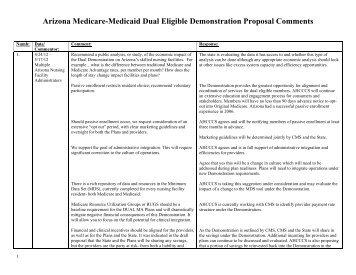 Public Comments to DRAFT Proposal - AHCCCS