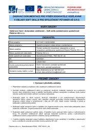 Záznam o výběru dodavatele - Evropský sociální fond v ČR