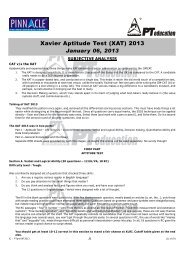 XAT 2013 Analysis + Answer Keys - PT education