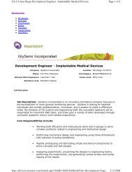 Development Engineer - Implantable Medical Devices, GlySens ...