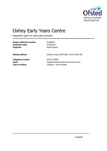 Daycare OFSTED Inspection Report 2012 - Oxhey Early Years Centre