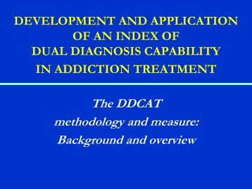 dual diagnosis capability in addiction treatment - Homelessness ...