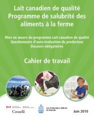 Lait canadien de qualité Programme de salubrité des aliments à la ...