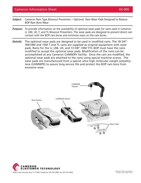 Cameron Information Sheet 03-005 - cedip